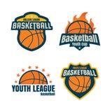 Logotipo del baloncesto, sistema de la insignia del collectionsport, illustra del vector Imagen de archivo libre de regalías