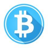 Logotipo del bitcoin/icono azules brillantes, circulares Blanco en azul stock de ilustración