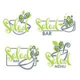Logotipo del bufete de ensaladas y del menú, emblemas y símbolos, poniendo letras a composi libre illustration