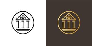 Logotipo del círculo con el edificio clásico de la academia y loto encima de él libre illustration