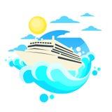 Logotipo del círculo del océano del verano del trazador de líneas del barco de cruceros Imagen de archivo libre de regalías