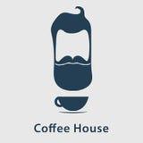 Logotipo del café con el hombre Imagen de archivo libre de regalías