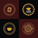 Logotipo del café del diseño en fondos coloreados Imágenes de archivo libres de regalías