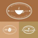 Logotipo del café del diseño en fondos coloreados Fotos de archivo libres de regalías