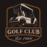 Logotipo del carro de golf en fondo oscuro Imagen de archivo