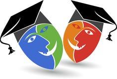 Logotipo del casquillo de la graduación de la máscara Imagenes de archivo