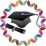 Logotipo del casquillo de la graduación de la pluma Foto de archivo