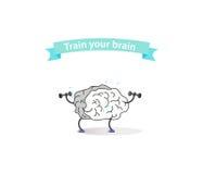 Logotipo del cerebro del deporte con una cinta Fotografía de archivo