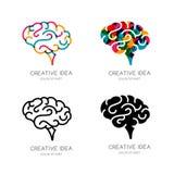 Logotipo del cerebro del vector, muestra, o elementos del diseño del emblema Cerebro humano del color del esquema, icono aislado Imagen de archivo libre de regalías