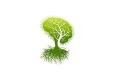 Logotipo del cerebro, icono del símbolo de Alzheimer, diseño de concepto sano de la psicología Fotos de archivo