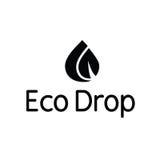 Logotipo del chapoteo de la hoja de la gotita del descenso del agua de Eco Imagenes de archivo