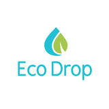 Logotipo del chapoteo de la hoja de la gotita del descenso del agua de Eco Fotografía de archivo