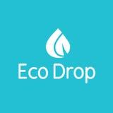 Logotipo del chapoteo de la hoja de la gotita del descenso del agua de Eco Imágenes de archivo libres de regalías