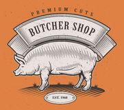 Logotipo del color del vintage de la carnicería Imagenes de archivo