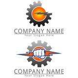 Logotipo del concepto del logotipo del engranaje del poder Fotos de archivo libres de regalías