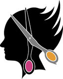 Logotipo del corte del pelo Imagen de archivo