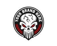 Logotipo del cráneo, icono o ejemplo del cráneo, vector del esqueleto stock de ilustración