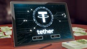 Logotipo del cryptocurrency de la correa en la exhibición de la tableta de la PC ilustración 3D fotografía de archivo libre de regalías