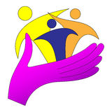 Logotipo del cuidado de la familia Fotografía de archivo