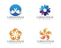 Logotipo del cuidado de la gente de la comunidad y plantilla de los símbolos Imagen de archivo