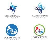 Logotipo del cuidado de la gente de la comunidad y plantilla de los símbolos Imágenes de archivo libres de regalías