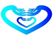 Logotipo del cuidado de la mano Imagenes de archivo