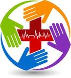 Logotipo del cuidado de las manos stock de ilustración