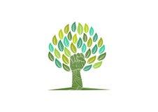 Logotipo del cuidado del árbol, símbolo de la naturaleza de la revolución, muestra orgánica de la rebelión, educación verde y dis Imagenes de archivo