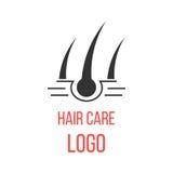 Logotipo del cuidado del cabello aislado en el fondo blanco Imagen de archivo