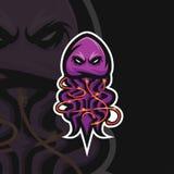 Logotipo del deporte de las medusas e ilustración del vector