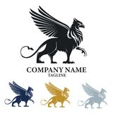 Logotipo del diseño de Griffin Mythical Creature Emblem Vector libre illustration