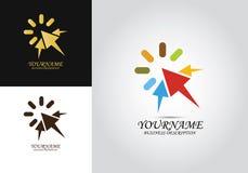 Logotipo del diseño de la flecha del tecleo imagenes de archivo