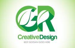 Logotipo del diseño de letra de la hoja del verde de GR Bio icono Illus de la letra de la hoja de Eco Fotografía de archivo