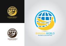 Logotipo del diseño del mundo del plátano imagenes de archivo