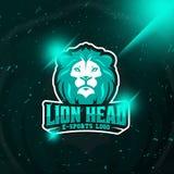 Logotipo del e-deporte del emblema de Lion Head para la impresión de la camiseta imágenes de archivo libres de regalías