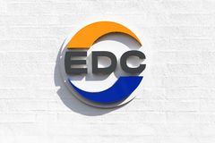 Logotipo del EDC en una pared imagen de archivo libre de regalías