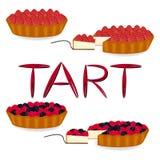 Logotipo del ejemplo del icono del vector para la tarta entera de la torta de la baya, rebanada h Foto de archivo libre de regalías