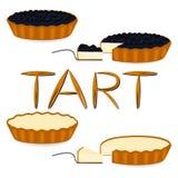 Logotipo del ejemplo del icono del vector para la tarta entera de la torta de la baya, rebanada h Imagen de archivo libre de regalías