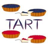 Logotipo del ejemplo del icono del vector para la tarta entera de la torta de la baya, rebanada h Fotos de archivo libres de regalías