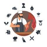 Logotipo del ejemplo del vector para la carnicer?a con los carniceros barbudos en el trabajo m?s el sistema de iconos planos ilustración del vector