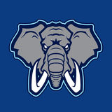 Logotipo del elefante del equipo de deporte de la universidad stock de ilustración