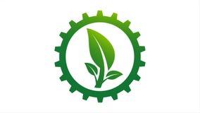 Logotipo del engranaje y de la hoja en el círculo con gráfico del movimiento de la resolución 4K ilustración del vector