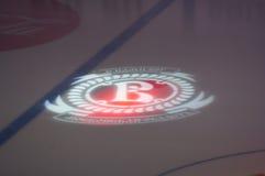 Logotipo del equipo de Vityaz Podolsk en el hielo Fotografía de archivo libre de regalías