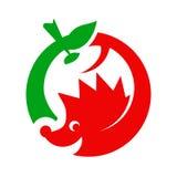 Logotipo del erizo y de la manzana Fotos de archivo libres de regalías