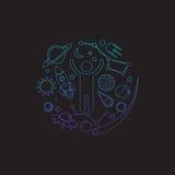 Logotipo del espacio Elementos del cosmos Ilustración del Vector