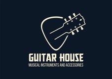 Logotipo del esquema de la casa de la guitarra ilustración del vector