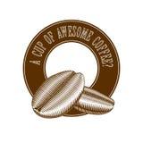 Logotipo del estilo del grabar en madera - dos granos de café y marcos del círculo para el texto Foto de archivo libre de regalías