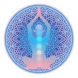 Logotipo del estudio de la yoga Silueta humana que medita o que hace yoga con las luces del arco iris de siete Chakras dentro en  ilustración del vector
