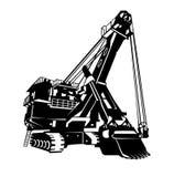 Logotipo del excavador, emblema, muestra stock de ilustración