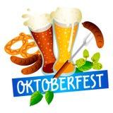 Logotipo del fest de la cerveza de Oktoberfest, estilo isométrico libre illustration